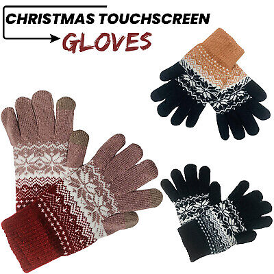 Ladies Mens Christmas Design Touchscreen Gloves Winter Warm Thermal Knitted Gift