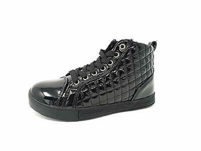 Childrens Kids Older Girls Hi Top Trainers Faux Leather School Shoes Size 11-3