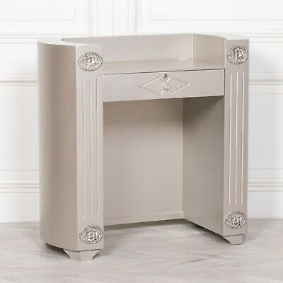 French Chic Silver Reception Desk Welcome Beauty Salon Stand Trade Counter