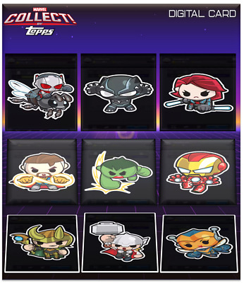 2019 MARVEL MINI-HEROES SERIES 1 SET OF 9  Topps Marvel Collect Digital Card