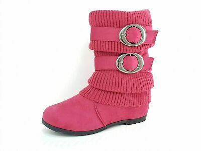 Girls Teens Kids Childrens Suede Pink Suede Buckle Ankle Winter Boots Size 9-4
