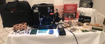 Singer 221 Featherweight Sewing Machine, loaded with accessories