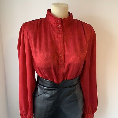 "Shiny Red Vintage Blouse Size 18 46"" Bust High Neck Glossy Secretary Style"