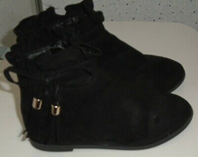 Young Girls River Island Boots Uk 7 Eur 23 Black Suede Tassles Bows Zips