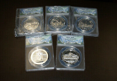 5 Coin Set First Day Issue 2010 5 oz Silver ATB America Beautiful ANACS MS69!!