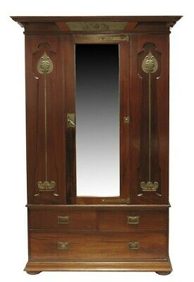 Shapland & Petter Arts & Crafts Mahogany Wardrobe Circa 1920