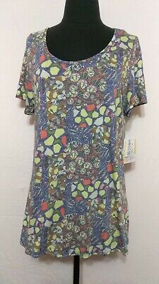 LuLaRoe Classic T - Medium - Blue/Red/Yellow/Gray/Green/Brown/White - Floral NWT