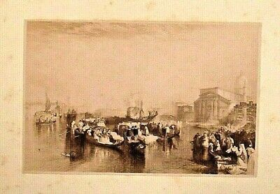 VENICE ITALY by J.M.W. TURNER, Sepia Tone, Vintage 1880 Antique Art Print