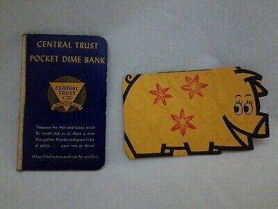 2 Vintage Dime Savers Bank of America Pig and Pocket Dime Bank Central Trust CO.