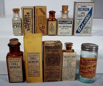 Lot of Six Early Labeled Quack Cure Bottles, Labels, Boxes, Kilmer's & More