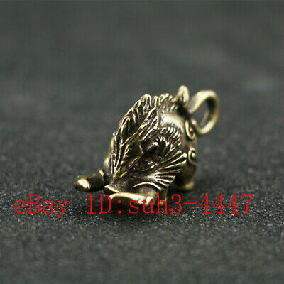 Chinese Handmade Copper  Brass Wild Boar Small Fengshui Statue Ornament