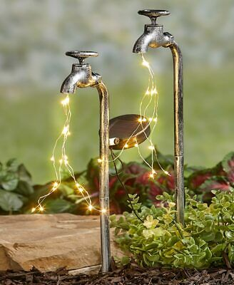 Set of 2 Solar Powered Old Time Industrial Water Faucet Lighted Garden Stake