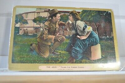 1909 The Army - Facing The Powder Charge - Woman Powdering Chin Postcard
