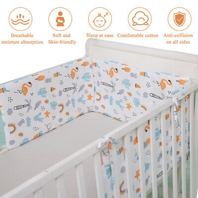 Pads Soft Washable Baby Safe Cotton Blend Breathable Nursery Bed Crib Bumper