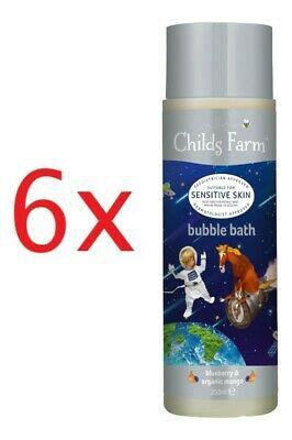 6 x Childs Farm bubble bath, blueberry & organic mango! 250mL! (6 bottles)