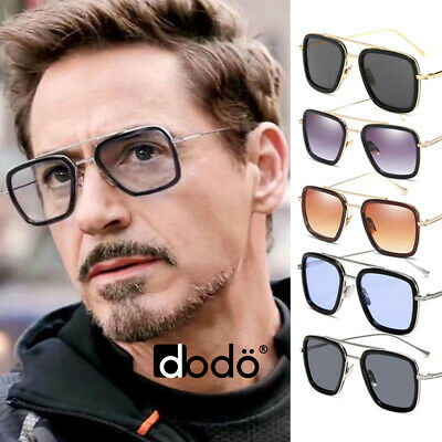 Tony Stark Edith Marvel Avengers Iron Man Retro Vintage Square Metal Sunglasses