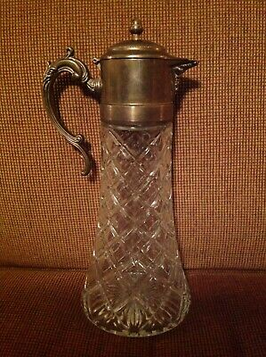 "Vintage Cut Crystal and Silver Plated Carafe Pitcher Decanter, 14"" Tall, 6"" Base"