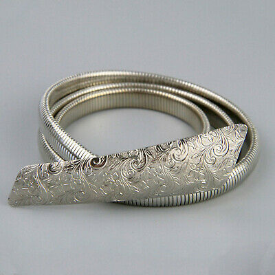 Vintage 70s Silver Metal Skinny Snake Belt Large Etched Buckle Stretch 73-88cm
