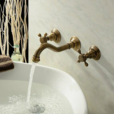 Two Handle Wall Mount Antique Solid Brass Bathroom Sink Faucet Bathtub Mixer Tap