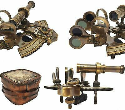 """Brass Nautical Sextant- Antique Sextant- POCKET SHIP SEXTANT-3"""" Sextant With Box"""