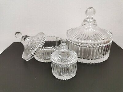8-16cm Glass Dish with Lid Table Serving Sugar Container New Bowl 3