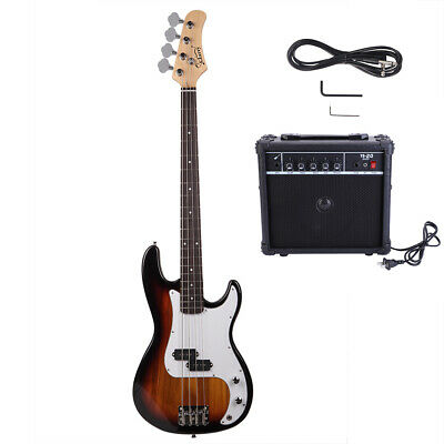 New GP Glarry Electric Bass Guitar Bass w/ 20W AMP Sunset US Shipping