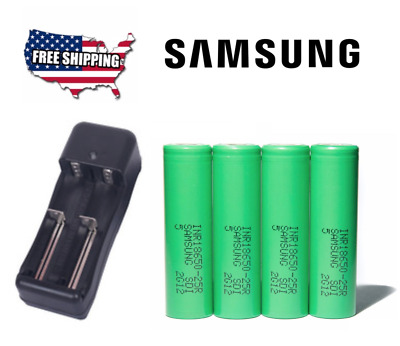 4 Samsung INR18650-25R 3.7V Drain Flat Top Rechargable Battery 2500mAh + Charger