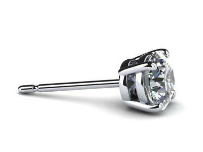 2 CT D VS1 Real 100% Natural Diamond  Round Cut Stud Earrings 14k White Gold