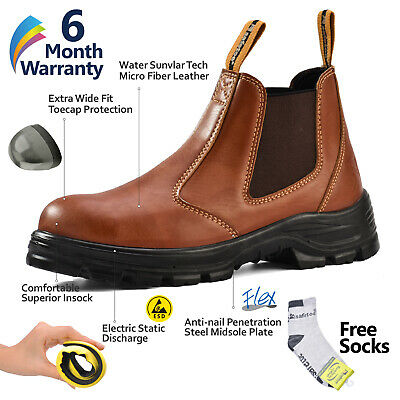 Safetoe Leather Work Boots Mens Safety Shoes Steel Toe Water-resistant Slip on