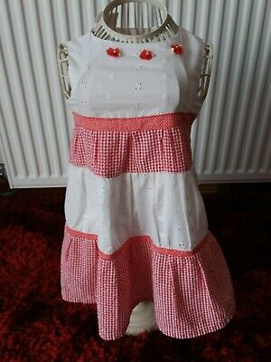 Lillie Billie - Baby Girls Red/White Check/Broider Anglais S/Less Dress -  2/3