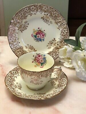 Antique Vintage Trio Cup Saucer Plate Afternoon Tea ~* Crown Staffordshire