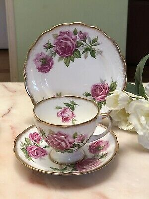 ANTIQUE VINTAGE TRIO CUP SAUCER PLATE AFTERNOON TEA ~*Royal Stafford PINK ROSES