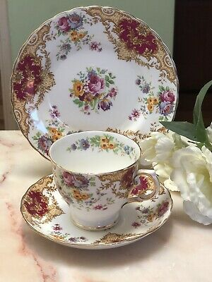 ANTIQUE VINTAGE TRIO CUP SAUCER PLATE AFTERNOON TEA ~*Tuscan Provence PRETTY!