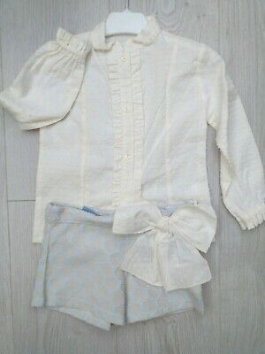 Romany Spanish Girls Short Set Blue Cream Age 4 Years