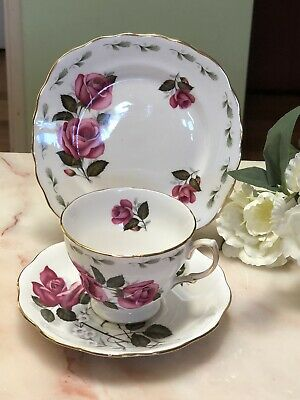 ANTIQUE VINTAGE TRIO CUP SAUCER PLATE AFTERNOON TEA ~*Queen Anne PINK ROSES