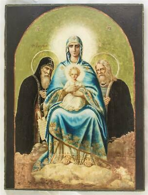 19c RUSSIAN ORTHODOX ICON MADONNA WITH CHILD AND SAINTS ANTONYJ AND SERGIUS