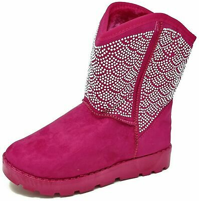 Girls Older Kids Childrens Pink Diamante Ankle Boots Shoes Size 12-3