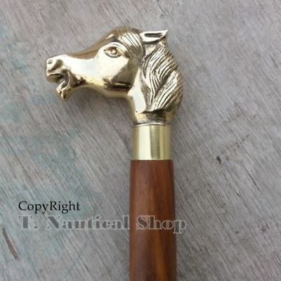 Vintage Brass Designer Horse Head Handle Walking Stick Wooden Cane Designer Gift
