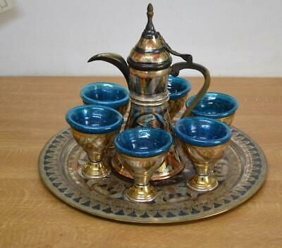 Vintage Egyptian Islamic Dallah Coffee set with blue glass liners as found