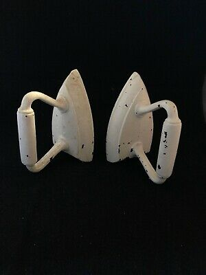"""Vintage White Cast Iron Bookends Decoration 6 ¼"""" Tall"""