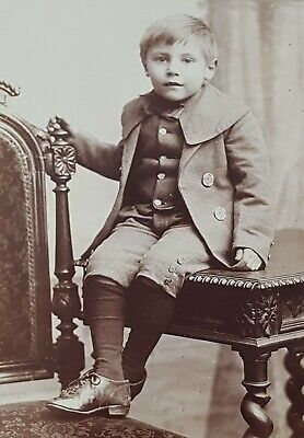 Antique Cabinet Card Child Photo Young Boy Knickerbocker Trousers - W Hermann