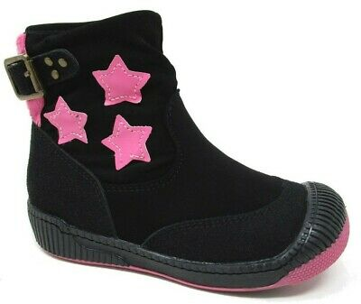 Tissaia Kids Girls Suede Pink Stars Buckle Black Ankle Boots Childrens Size 7-12
