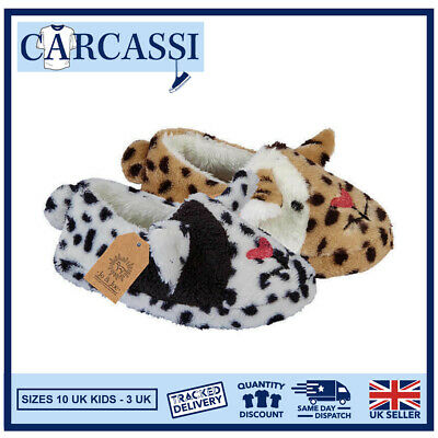 Kids Childrens Girls Faux Fur Lined Soft Novelty Tabatha Cat Slippers Size 10-3
