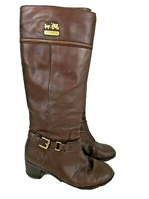 Coach Brown Leather Knee-high Sapphire Women's Boots Size 6.5