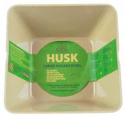 EcoSouLife Rice Husk (D14 x H) Small Square Bowl Natural (6cm)