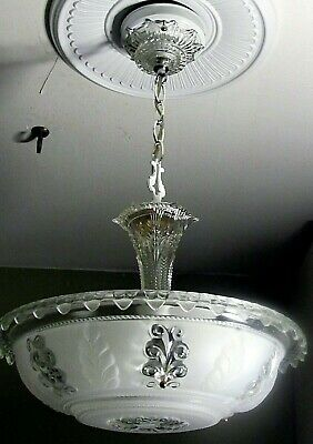 Vintage DECO VICTORIAN Ceiling LIGHT Fixture Chandelier LARGE THICK GLASS SHADE