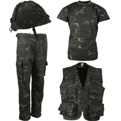 Boys Army Soldier Outfit Trousers T-Shirt Helmet & Vest Kids 3-13 Yrs Black Camo