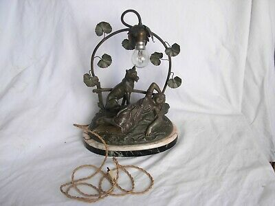 Antique French Spelter Lady With Dog Figure Table Lamp,Signed,Art Nouveau.