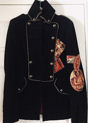 Isabel De Pedro Black With Red Military Style Jacket / Blazer