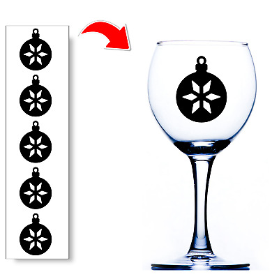 Christmas Bauble Wine Glass Stickers Xmas Decals For Glasses